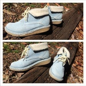 Kebo Baby Blue Suede Ankle Boots Sherpa Lining